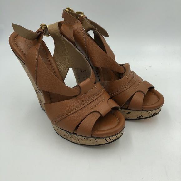 e801f39b8298 Chloe Shoes - CHLOE BROWN LEATHER CORK WEDGE PLATFORM SANDALS 37